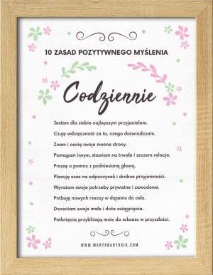Plakat motywacyjny w drewnianej ramce