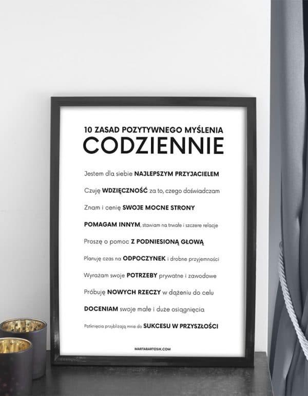 Plakat motywacyjny w czarnej ramce